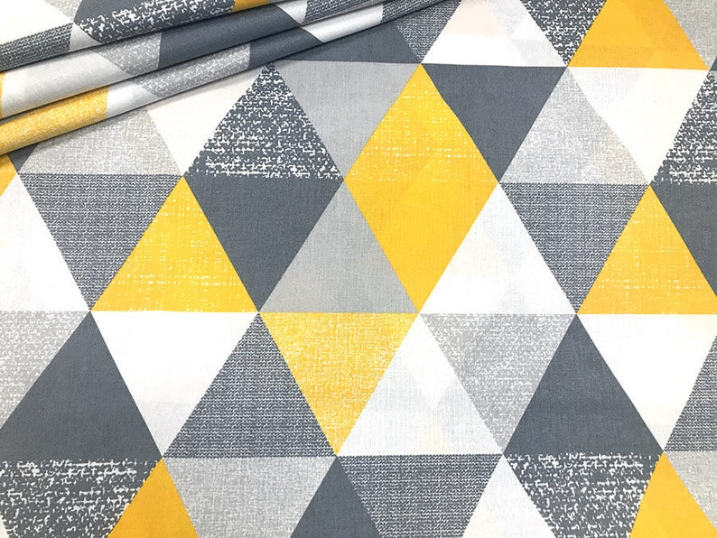 large triangle yellow mustard grey   FABRIC 100/%COTTON 160cm wide