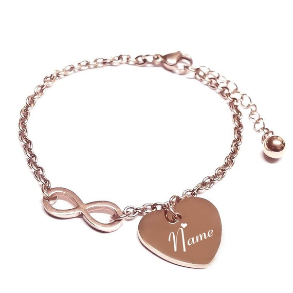sehen 7dd0d db99a Herz-Armband Infinity mit Gravur rosegold