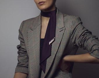 Handmade Women/'s Slim TieNecktieNeckwearAccessory Black /& Azure Blue Cady Crepe