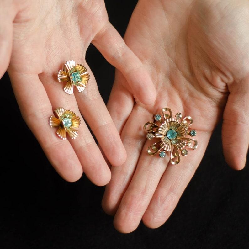 Aquamarine earrings and Rhinestone brooch bouquet Fine estate jewelry set
