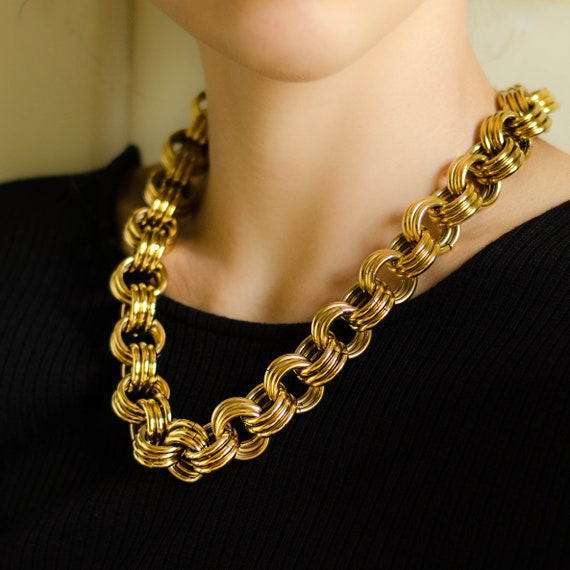 Chunky gold necklace by Monet jewelry, Double link