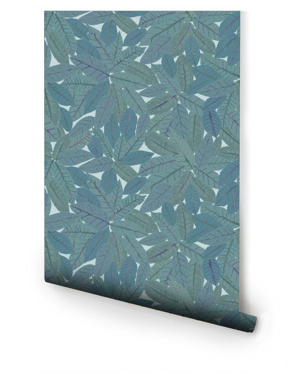 Blue Texture Leaves Pre Pasted Wallpaper