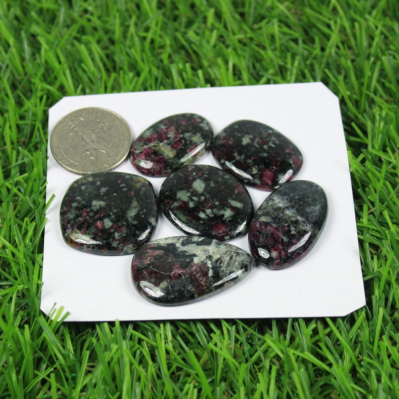 Awesome Natural Eudialyte Cabochon Loose Gemstone 6 Pcs Handmade Beautiful Designer For Eudialyte Top Quality Wire Wrap Stone Jewelry #2600