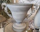 pretty amphora in grey wiped cup antique look grey metal vintage