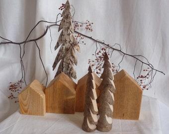 Winter village wooden tree bark cottage autumn decoration Christmas decoration seasonal table wooden decoration