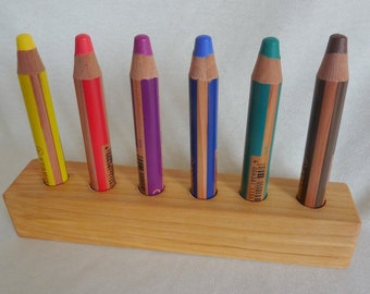 Pen holder birch for crayons chalk Woody