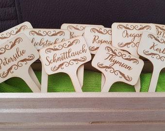 Herbal plug laser engraved wooden set of 10