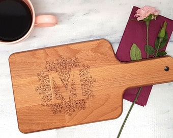 Breakfast board with handle with monogram letter with filigree mandala laser engraved 15 cm x 30 cm