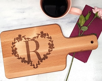 Breakfast board with handle with monogram letter with heart laser engraved 15 cm x 30 cm