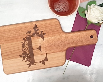 Breakfast board with handle with monogram letter with flower vine laser engraved 15 cm x 30 cm