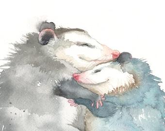 Cute Possums Hugging Print Possum Mom Art Opossum Gift Opossum Lover Gift Possum Art