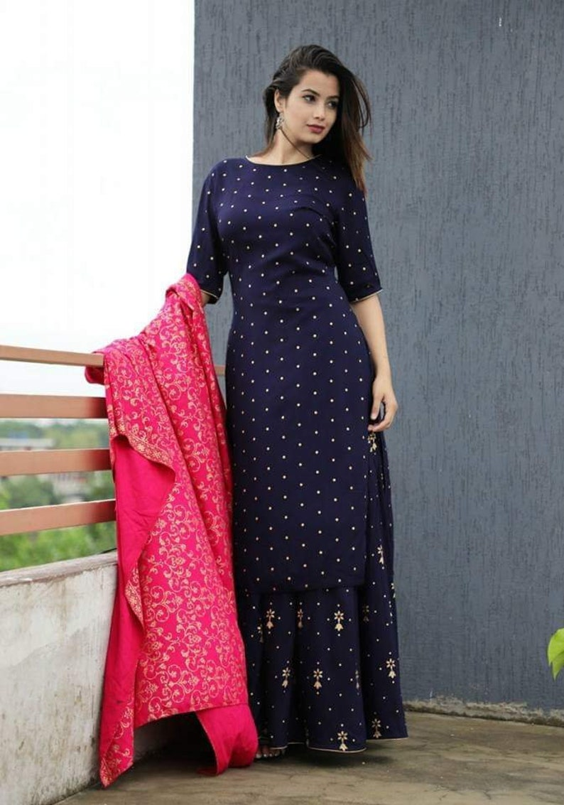 0858281114a Designer Long Maxi Dress Handcrafted Ethnic Wear Kurti with
