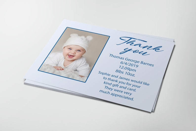Personalised Baby Photo Thank You Cards with envelopes GirlBoy