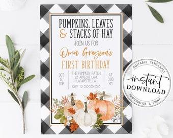 Blue Gingham Pumpkin Invitations