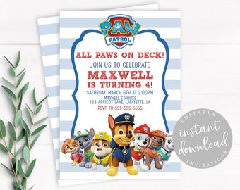 Paw Patrol Invitation Instant Download Boy Editable Birthday Template