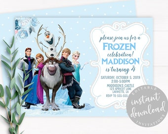 Frozen Invitation Instant Download Birthday Editable Template Girl