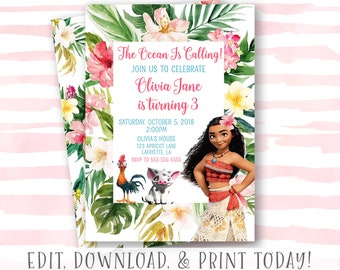 Moana Invitation Instant Download Birthday Printable Girl