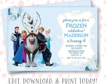 Frozen Invitation Template Etsy