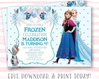 Frozen Invitation Instant Download Birthday Editable Template Girl