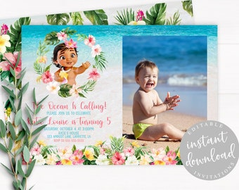 Baby Moana Invitation Instant Download Birthday Editable Template Girl