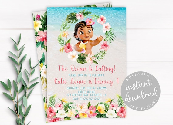Baby Moana Invitation Instant Download Baby Moana Invitation Moana Birthday Invitation Editable Moana Birthday Template Girl Invitation