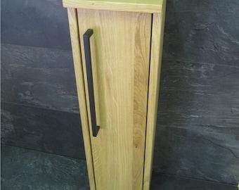 WC Schrank Bürstenhalter Toilettenpapierhalter Einzelstück Eiche Massivholz  Vollholz Holz WC Ständer Klopapier Badezimmerschrank
