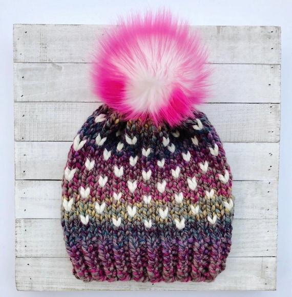 Hot Pink Pom Hat Heart Hat Pink Purple Hat Pretty Girly  ff1e993aa78