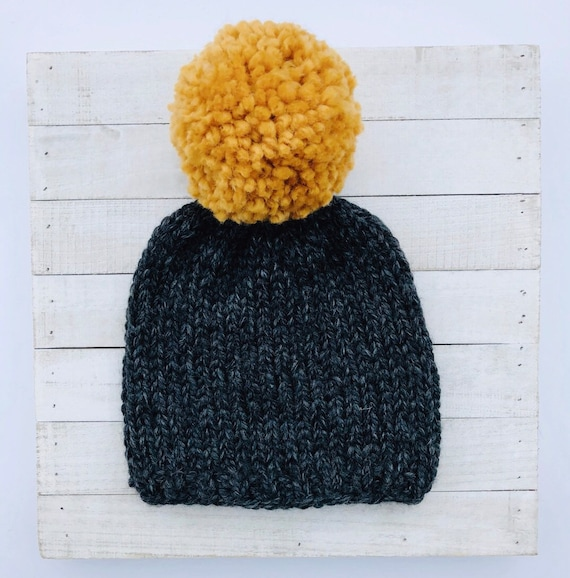 Extra Large Pom Beanie Black Hat With Mustard Yellow Pom  b402f1b641f