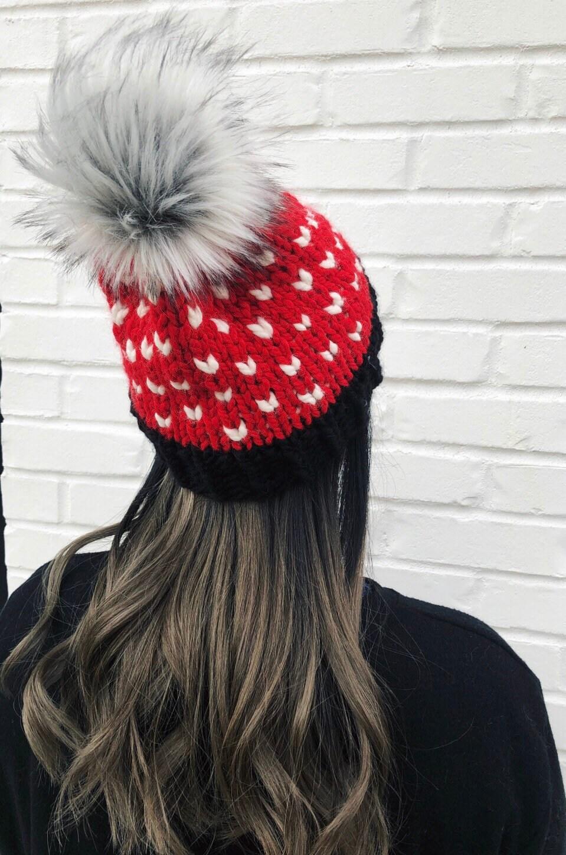 63a27b0fa08 Knit Beanie Heart Hat Women Football Beanie Louisville