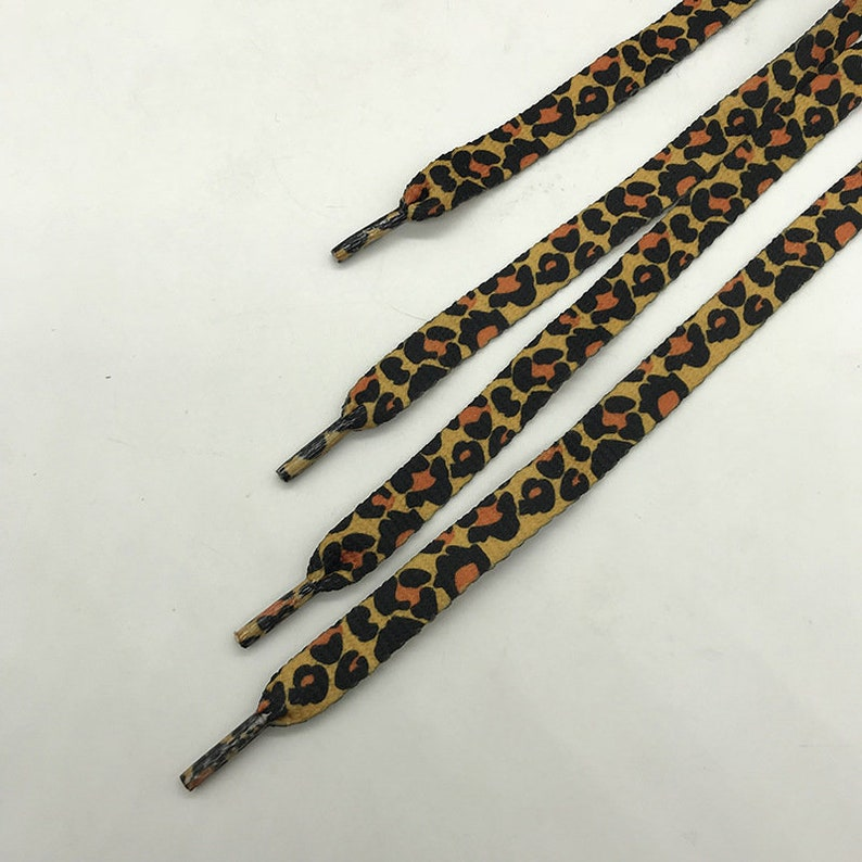 Girls Shoe Strings With Floral Shoe-buckle Flat Shoelaces Brown Shoe Strings Leopard Shoelaces