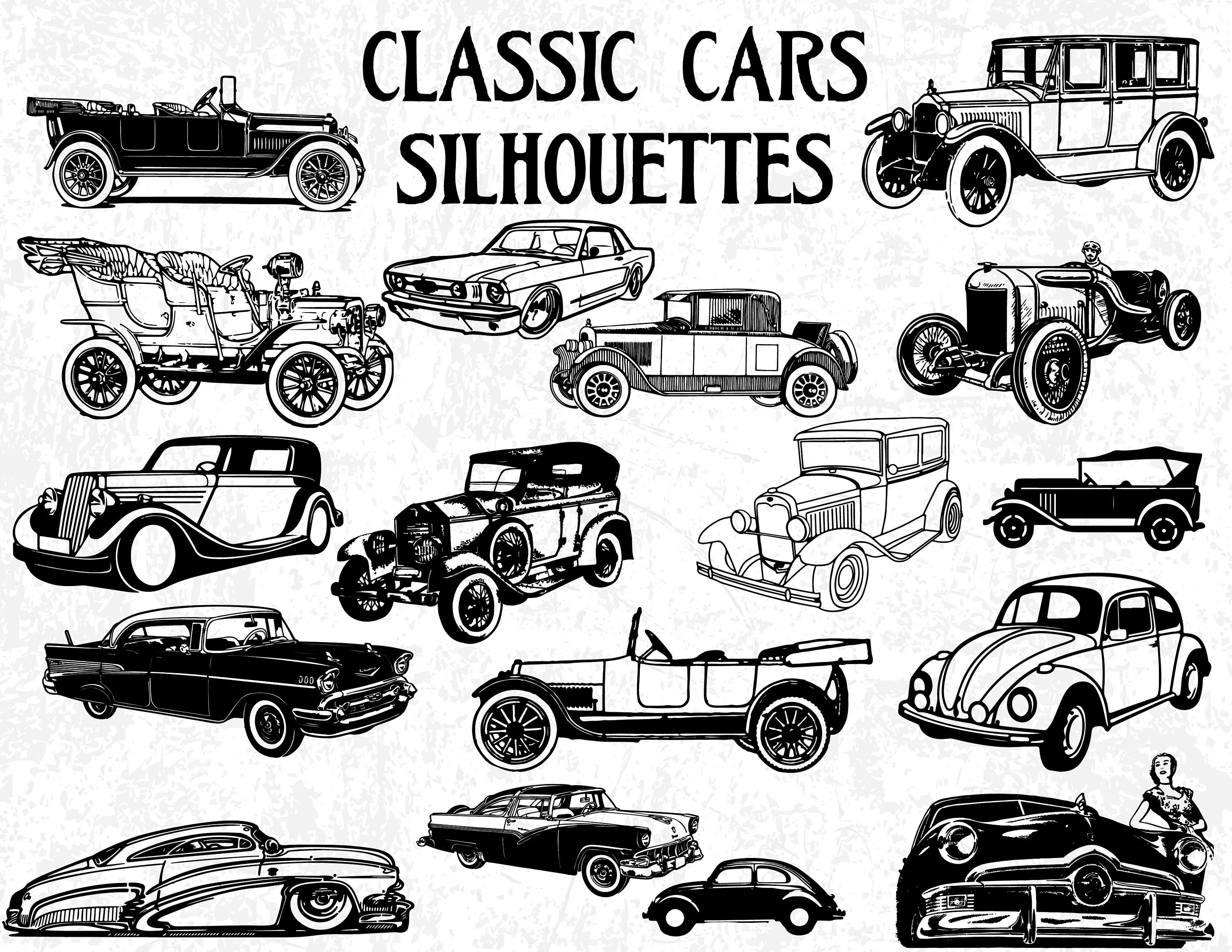 17 Classic Cars Silhouettes Vintage Cars Silhouettes Classic Etsy