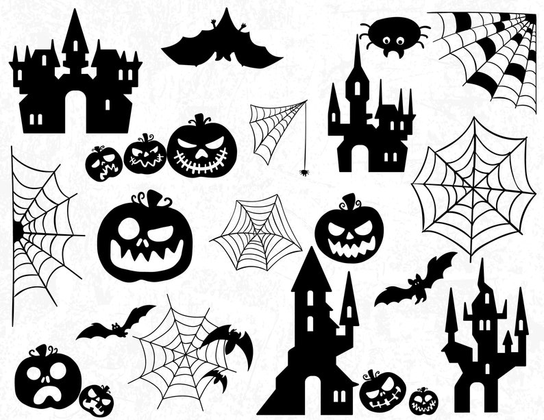 Halloween Silhouettes, Scary Halloween Silhouettes, Pumpkin Silhouettes,  Halloween SVG, Halloween, Fall Silhouettes, Scary Castles
