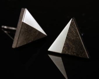 Ebony Silver triangle stud earrings (pair)