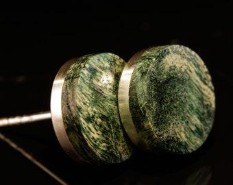 Studs silver poplar green (pair)