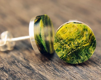 Earrings silver poplar yellow-green (pair)