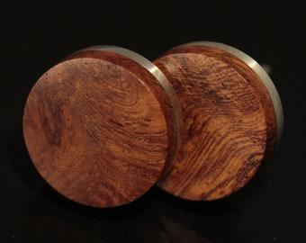 Earrings Silver-Amboyna (pair)