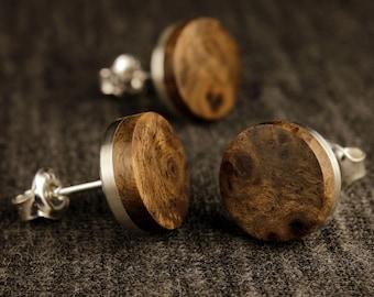 Earrings Silver-Walnut (pair)