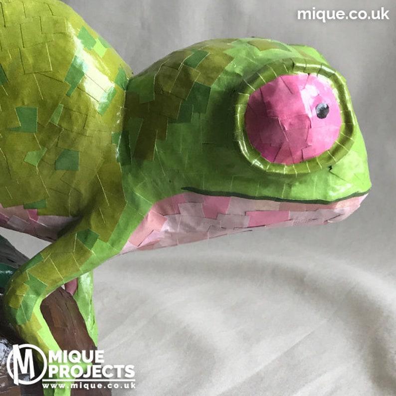 Papier-mâché Figure  Chameleon Green image 0