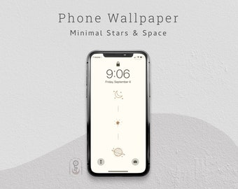 Minimalist Stars and Space Phone Wallpaper, Lock Screen, iPhone & Android Wallpaper - Digital Download