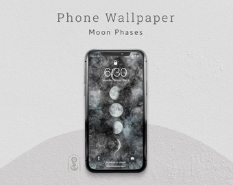 Moon Phases Phone Wallpaper, Lock Screen, iPhone & Android Wallpaper - Digital Download