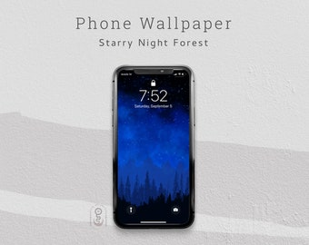 Starry Night Sky Forest Phone Wallpaper, Lock Screen, iPhone & Android Wallpaper - Digital Download