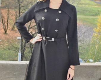 15f265e64c03 Vintage 60 s 70 s MERRY FINN Made in Finland black wool midi dress Size M L  European