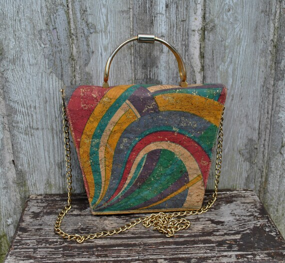 Vintage mlticolored cork top handle bag / shoulder