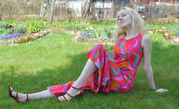 Vintage handmade multicolored overalls from 70's