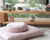 Meditation Cushion Set in Raw Silk - Pale Pink