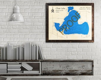 Clear Lake Indiana Map.Clear Lake Map Etsy