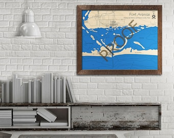 Port Aransas - Mustang Island - San Jose Island, Texas 3D Wood Map   Custom Nautical Map, Cabin Decor, Lake House Decor, 3D Wooden Chart