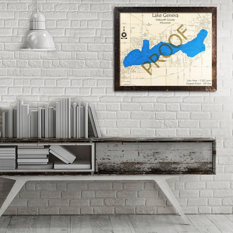 Lake Geneva Wisconsin 3d Laser Cut Wood Map Lake House Cabin Decor Nautical Decor Housewarming Wedding Fishing Sailing Gift