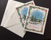 2 Vintage Kinda Used Kinda Unused Personalized Christmas Cards - 1960s - Great For Holiday Paper Craft Projects