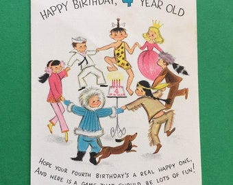 Adorable Used Vintage Mid Century Birthday Card For 4 Year Old Child